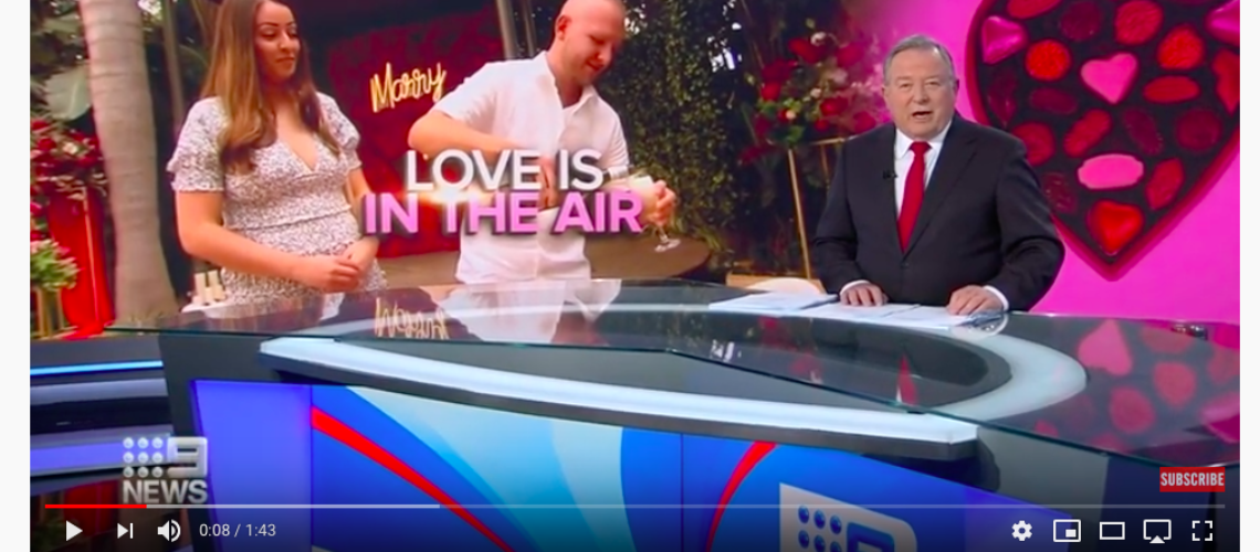 200214 TV - Nine News Australia I Love is in the air as couples celebrate Valentines Day